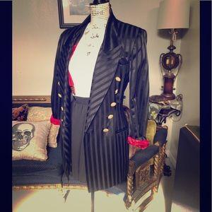 VTG 80s Zoot Suit Style Criscione BLK Satin Jacket